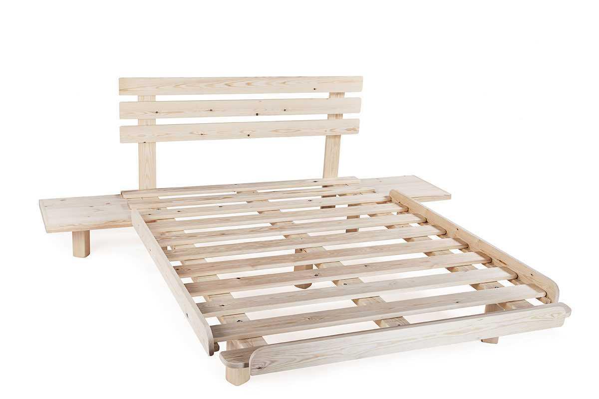 בסיס עץ למיטה עם מדפים צדדיים